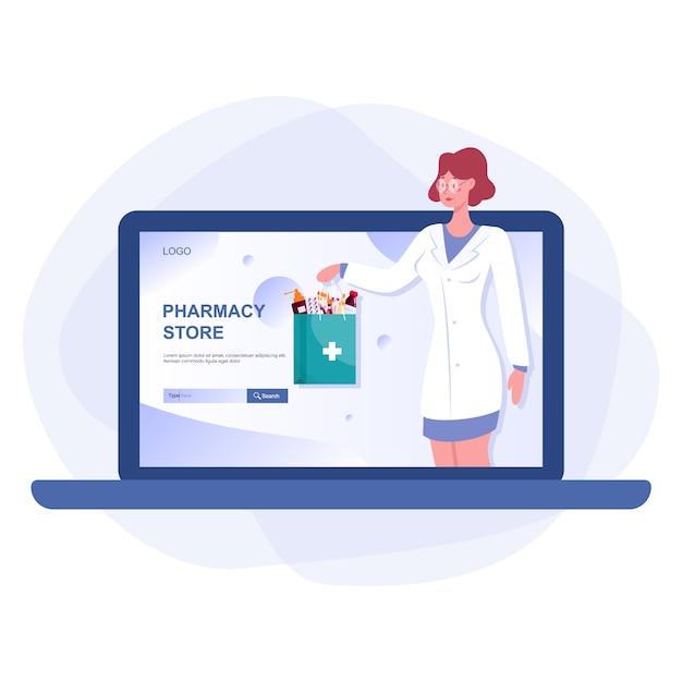 Webデバイス画面上のオンライン薬局のwebバナー。医学とヘルスケア。オンラインドラッグストアのwebバナーまたはwebサイトインターフェイスのアイデア。孤立したベクトル図 Premiumベクター