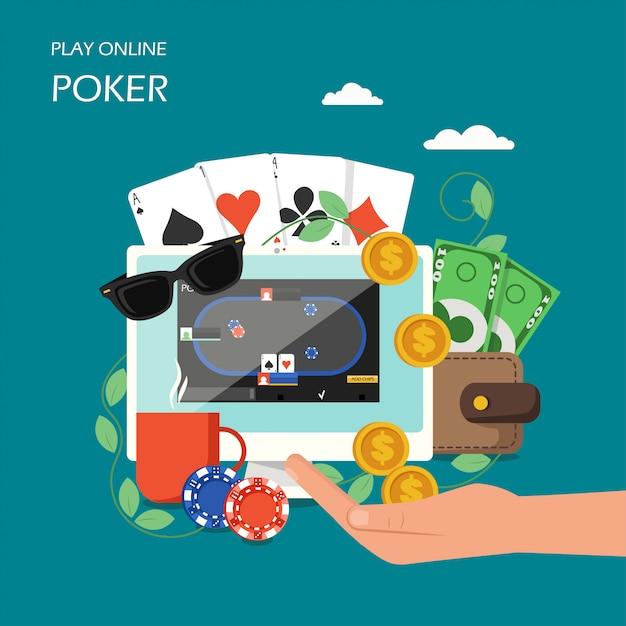 Online poker  flat style Premium Vector