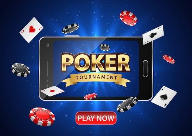 Online poker tournament   with a mobile phone. poker banner with chips and playing cards. Premium Vector