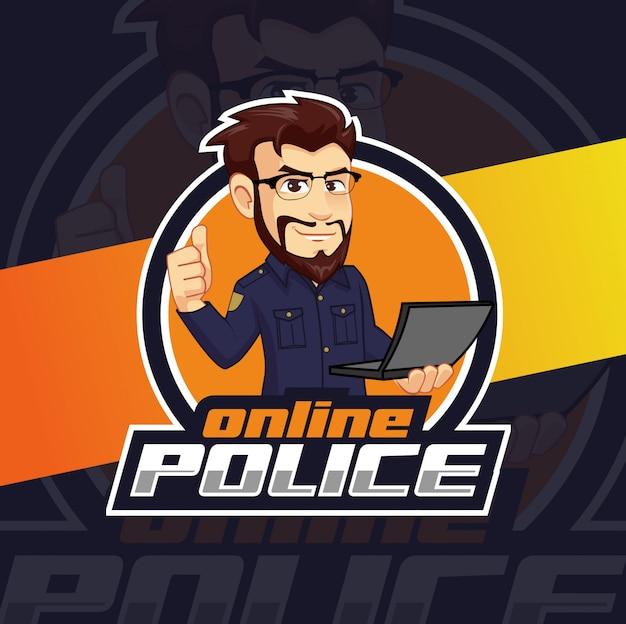 Online police mascot logo design Premium Vector