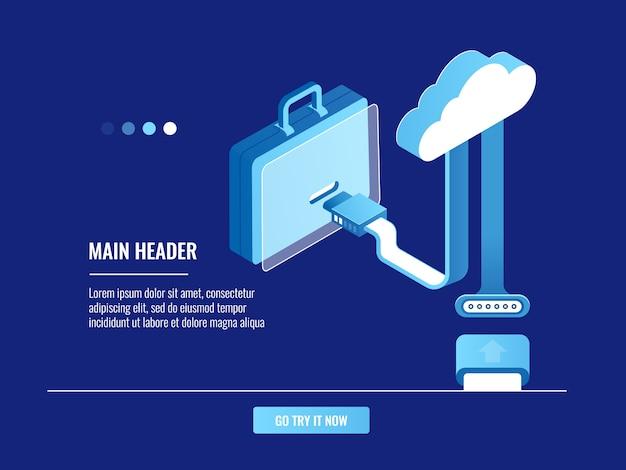 Online portfolio concept, cloud data storage, information warehouse Free Vector