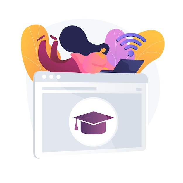 Online preparation for lesson. internet school homework, university assignment, college online tasks. young woman using remote classes website. Free Vector