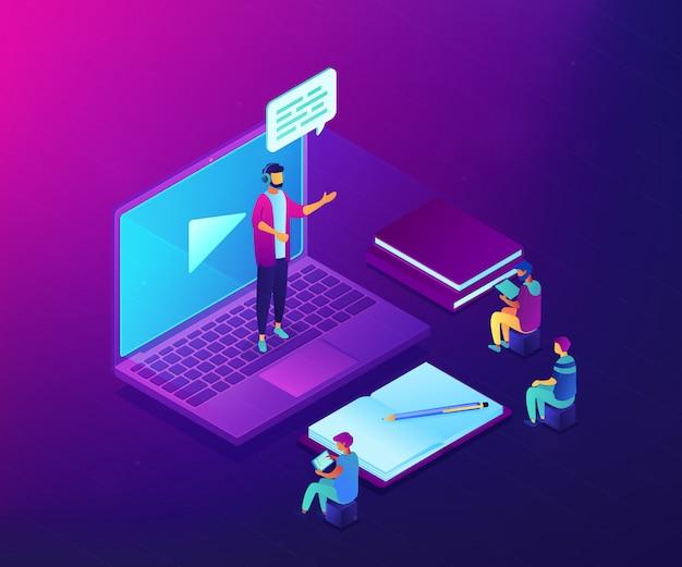 Online presentation isometric 3d concept illustration. Premium Vector