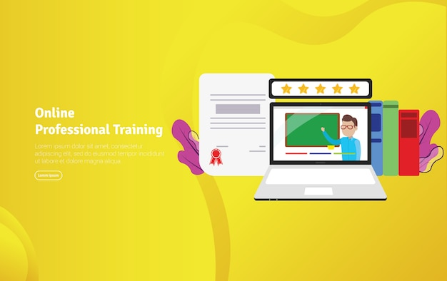 Online professional training illustration banner Premium Vector