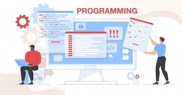 Online project css html coding and programming Premium Vector