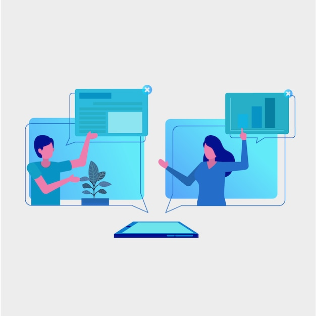 Online project manager group discussion Premium Vector