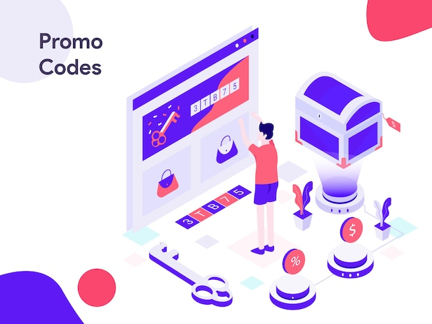 Online promo codes isometric illustration Premium Vector