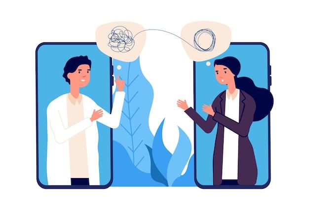 Концепция онлайн-психотерапии. врач-психолог помогает пациенту распутать запутанные мысли. психологические проблемы, психические расстройства. векторная иллюстрация онлайн-справки. консультация психиатра онлайн Premium векторы