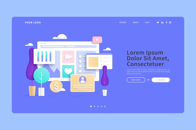 Online purchases from home 3d concepts landing page Free Vector