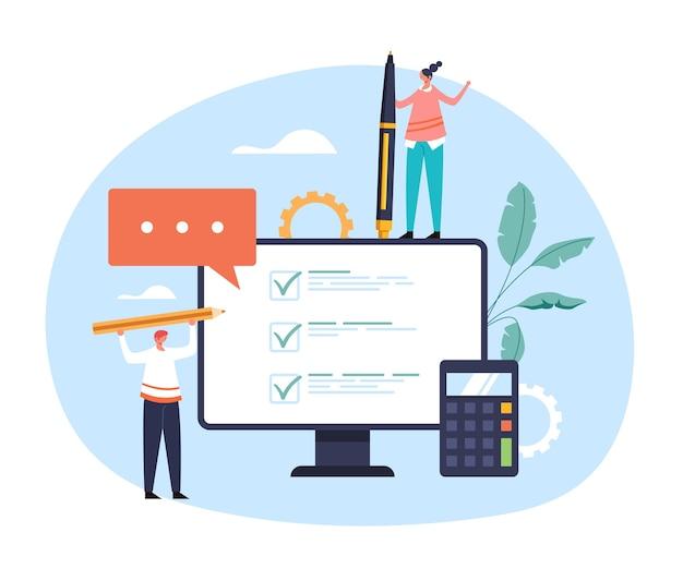 온라인 질문 분석 설문지 의견 테스트 선택 온라인 웹 인터넷 서비스 개념. 프리미엄 벡터