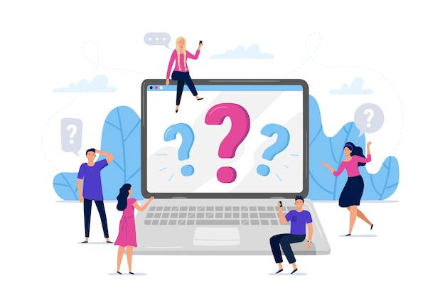 Online question answers search Free Vector