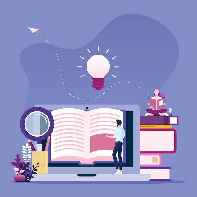 Online reading concept. businessman reading book online Premium Vector