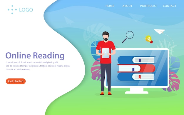 Online reading, landing page Premium Vector