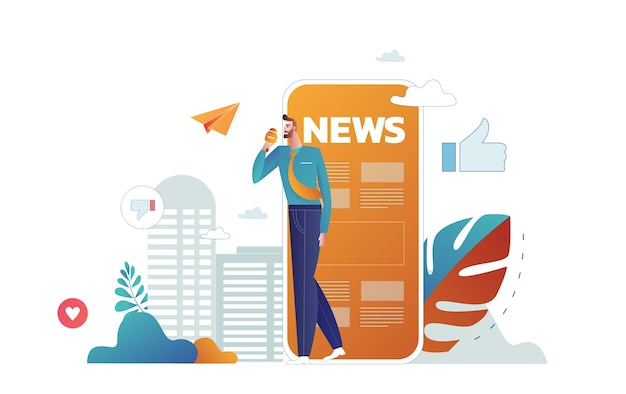 Online reading news. young men and women are standing near big smartphone and using their own smart phones Free Vector