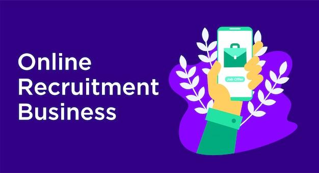 Online recruitment business illustration Premium Vector