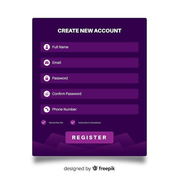 Online register form Free Vector