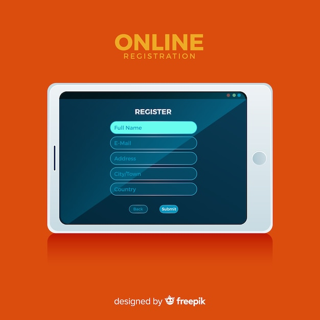 Online registration concept with flat design Free Vector
