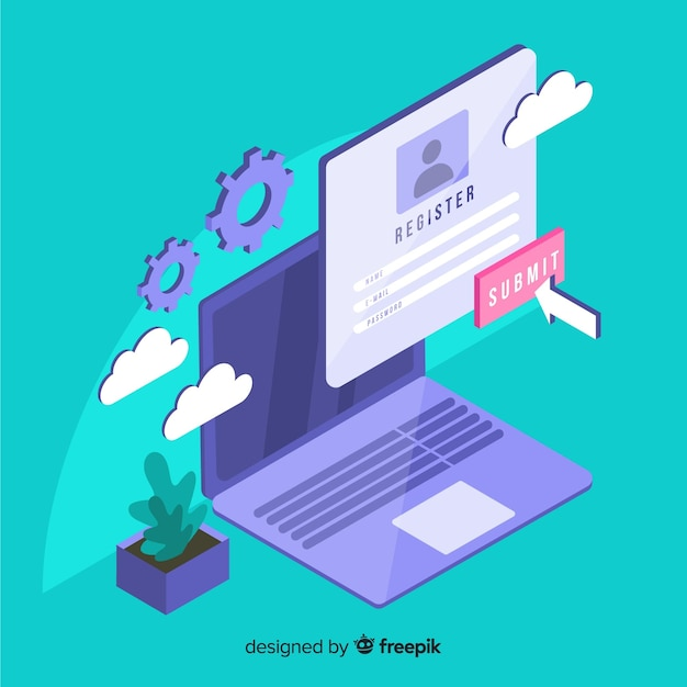 Online registration concept with isometric view Free Vector