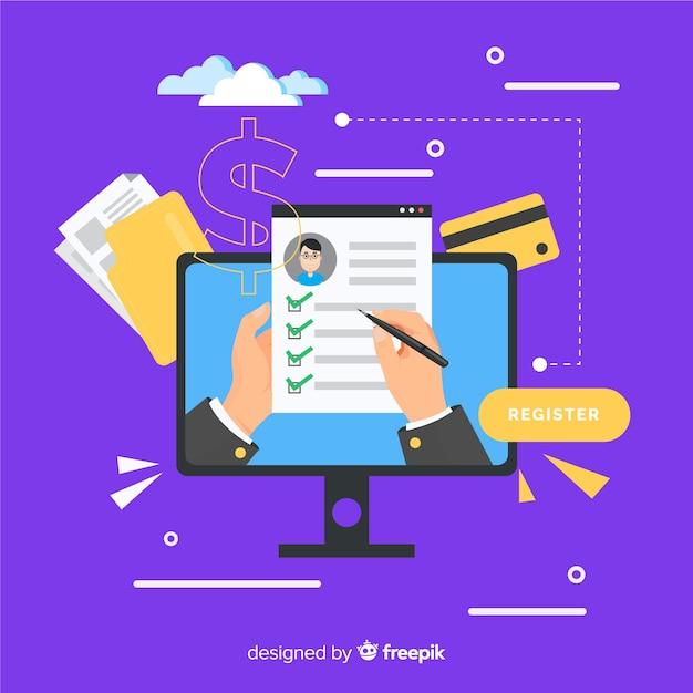 Online registration concept Free Vector