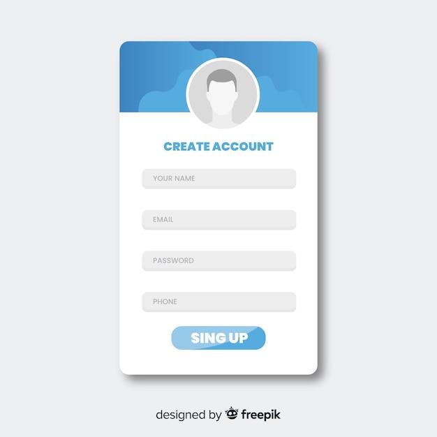 Online registration form Free Vector