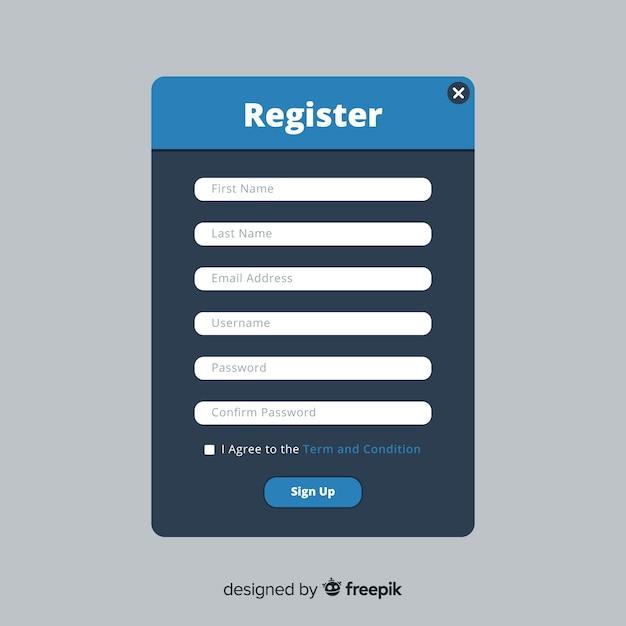 Online registration interface Free Vector