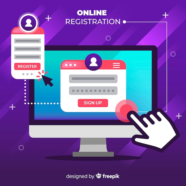 Online registration Free Vector
