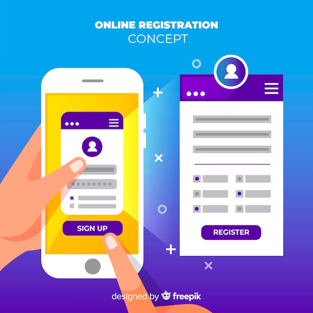 Online registration Free Vector