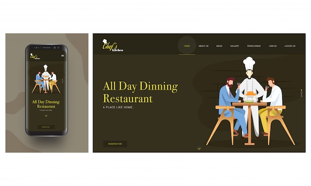 Online restaurant app in smart phone with chef serving chicken to customers man sitting on dining table. Premium Vector