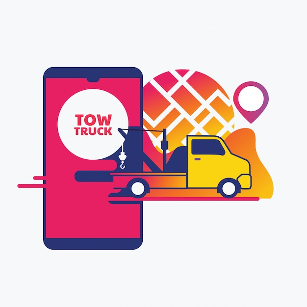 Online roadside assistance, car towing service mobile app concept Premium Vector