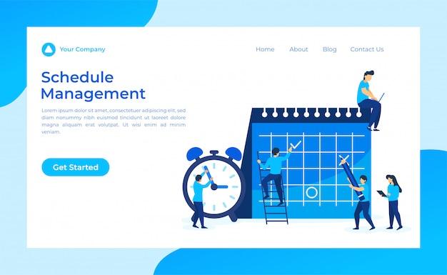 Online schedule management landing page Premium Vector