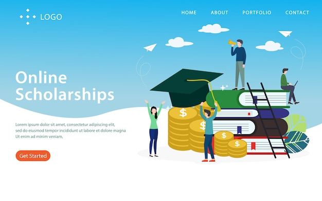 Online scholarship, landing page,  layered, easy to edit and customize, illustration concept Premium Vector