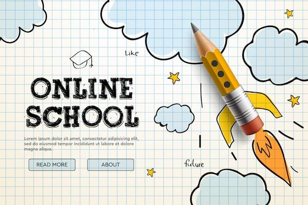 オンライン学校。デジタルインターネットチュートリアルとコース、オンライン教育。ウェブサイトおよびモバイルアプリ開発用のバナーテンプレート。落書きイラスト Premiumベクター
