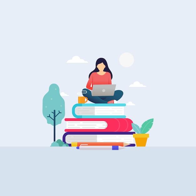 Студент онлайн-школьного образования учится с ноутбуком для Premium векторы