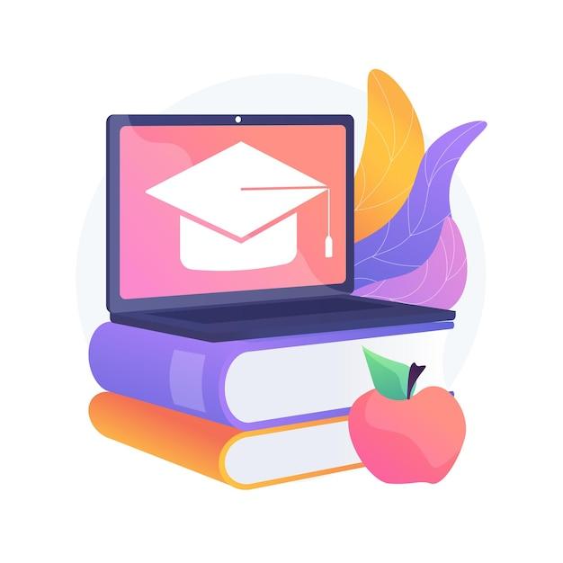 オンライン学校プラットフォームの抽象的な概念図。ホームスクーリング、オンライン教育プラットフォーム、デジタルクラス、仮想コース、学校向けlms 無料ベクター