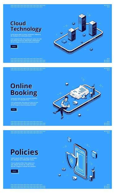 Online services for mobile phone. concept of internet technologies, digital systems for smartphone. vector set of banners of cloud technology, online booking and policies with isometric illustrations Free Vector