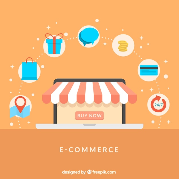 Online shop and shopping icons with flat design vector for Design on line outlet