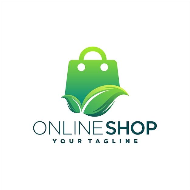 Интернет-магазин градиентный дизайн логотипа Premium векторы