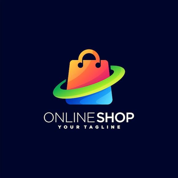 オンラインショップのグラデーションロゴデザイン Premiumベクター