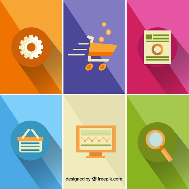 Online shop icons Free Vector