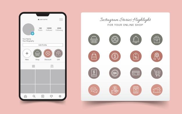 Online shop instagram stories highlight cover Premium Vector