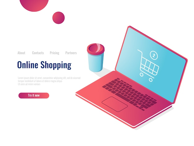 Online shop isometric icon, laptop with shopping basket, order purchase Free Vector