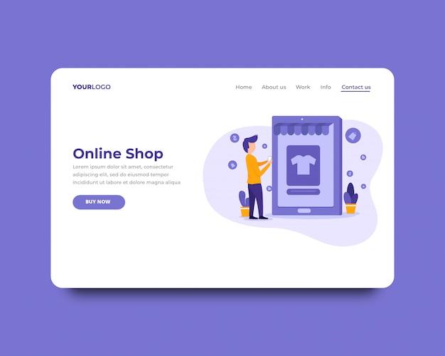 Online shop landing page template Premium Vector