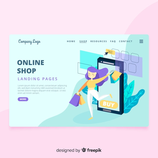 Online shop landing page Free Vector