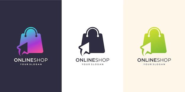 Online shop logo design inspiration.modern, logo bag,online,click.design illustration template. Prem