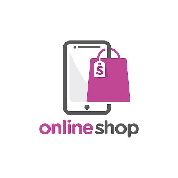 Online shop logo template Premium Vector