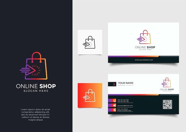 グラデーション線画矢印スタイルと名刺デザインテンプレートとオンラインショップのロゴ Premiumベクター