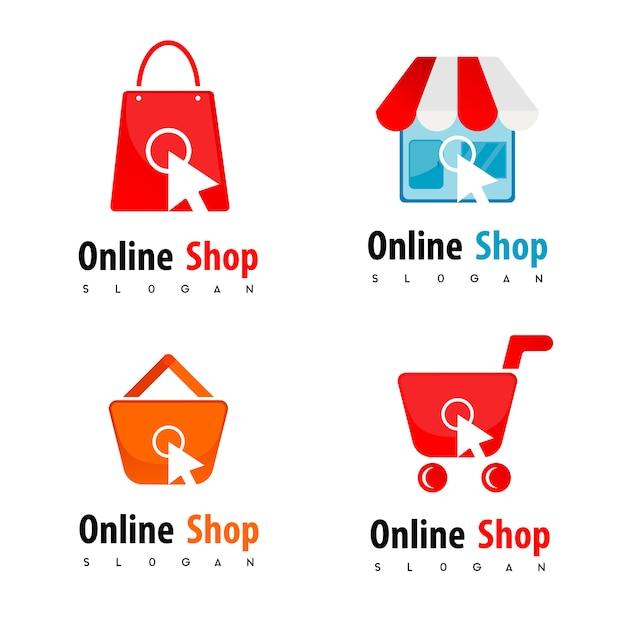 Online shop logo Premium Vector