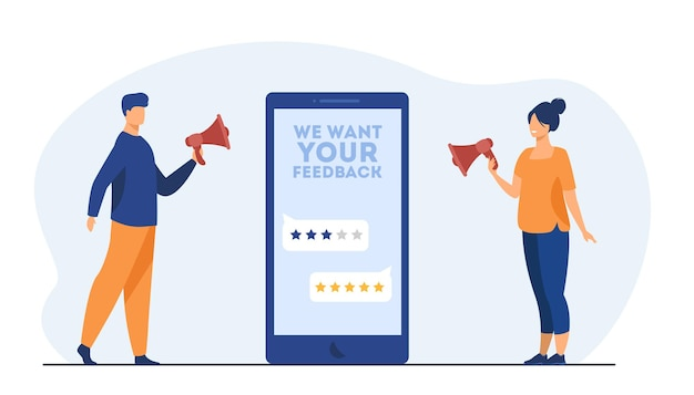 Online shop managers asking clients for feedback. screen, rate, people with megaphone. cartoon illustration Free Vector