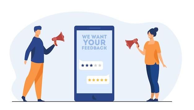고객에게 피드백을 요청하는 온라인 상점 관리자. 화면, 속도, 확성기를 가진 사람. 만화 그림 무료 벡터