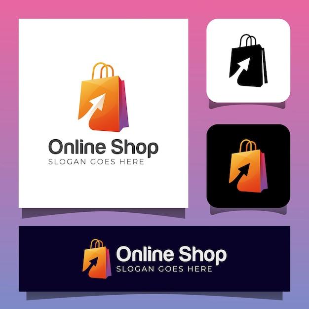 オンラインショップまたはショッピングバッグ付きショッピングストアのロゴデザイン Premiumベクター